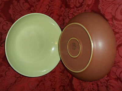 """2 Denby England 8 5/8"""" Light Green And Brown Pasta Or Serving Bowls...nice!"""