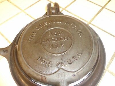 1901 Griswold Erie New American No. 8 Cast Iron Waffle Maker  with Low Base