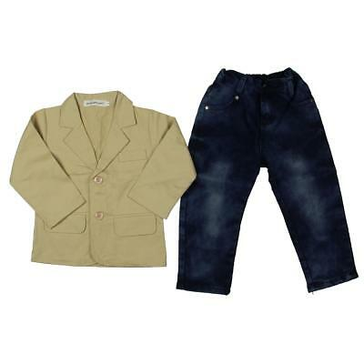 Big Elephant 7911 Boys Tan Cotton 3PC Jean Outfit 3 BHFO