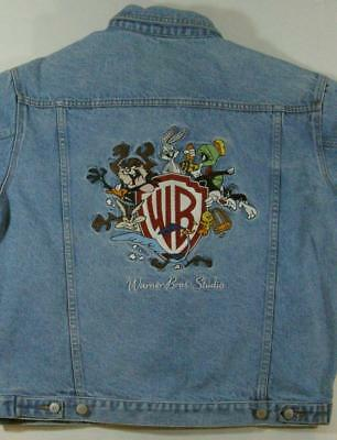 Vintage Warner Bros Looney Tune Blue Denim Trucker Jacket Size M Bugs Taz