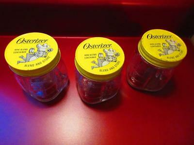 3 Vintage Osterizer Mini- Blend Containers With Lids