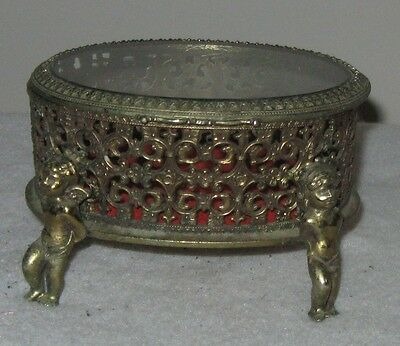 Vintage Ornate Brass Jewelry Trinket Box With Glass Lid And Four Cherubs