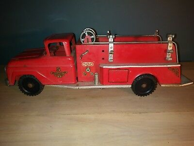 Vintage Tonka Fire truck  no 5 Toy 1950's Pressed Metal Truck All Original