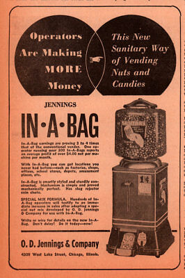 1940  Ad  Jennings In A Bag Vending Machine Nuts Candies