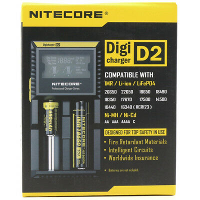 NiteCore D2 Smart DigiCharger for AA 26650 18650 18350 16340 Battery+Car Charger