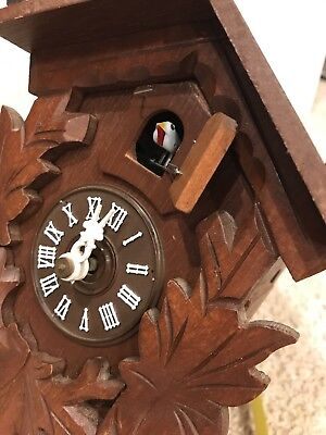 Vintage old antique  West Germany Cuckoo Clock  For Repair or Parts  Carved Wood
