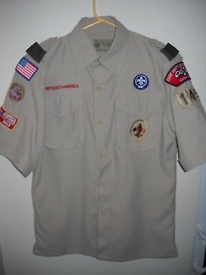 Boy Scouts Of America Uniform Shirt Youth Large W/ Patches Troop 1491 Seattle