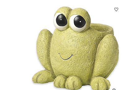 New Precious Moments Hop To It Happy Green Frog Garden Yard Resin Statue Planter