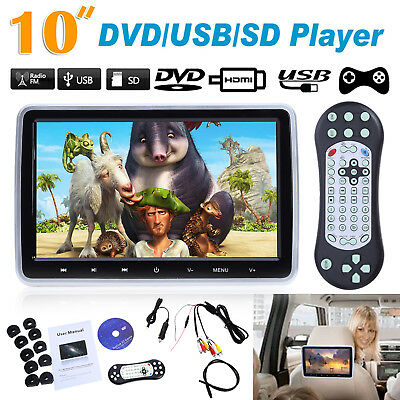 "HDMI 10"" HD Digital LCD Screen Car Headrest Monitor DVD/USB/SD/CD Player IR/FM"