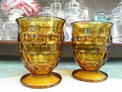 Vintage Whitehall Amber 8 oz. Footed Tumblers Stacked Cubes Design