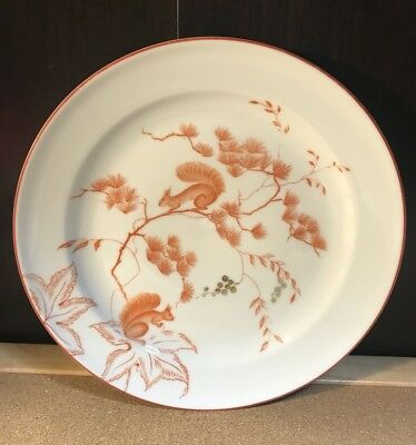 Vintage Rosenthal Germany Orange & White Plate with Squirrels