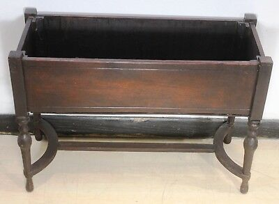 Vintage Wood Planter Box Stand Elevated with Base Legs Antique Raised Planter