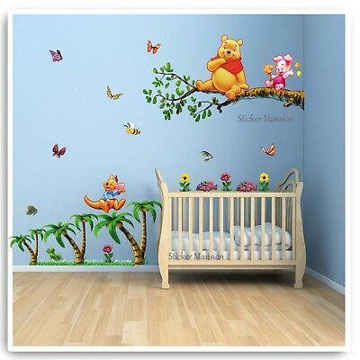 Winnie The Pooh Wall Stickers Animal Erfly Tree Baby Room Nursery Decal Art