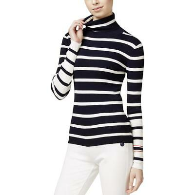 Tommy Hilfiger 5928 Womens Navy Striped Turtleneck Sweater Top M BHFO