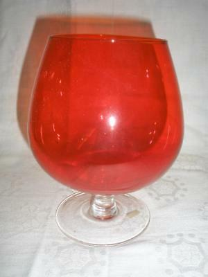 Stunning Red Glass Brandy Balloon Made In Japan
