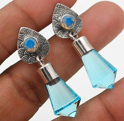 "24CT Aquamarine 925 Solid Sterling Silver Earrings Jewelry 1 1/2"" Long"