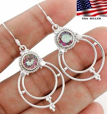2CT Color Changing Rainbow Topaz 925 Sterling Silver Earrings Jewelry, A3-1
