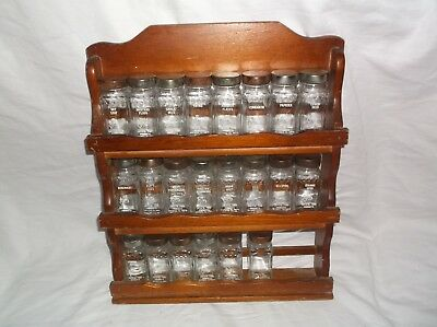 Vintage Crystal Food Products Wall Mount Wood Spice Rack W/ 22 Glass Bottles