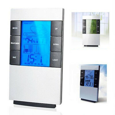 Modern LCD Digital Hygrometer Humidity Thermometer Temperature Meter Gauge Clock