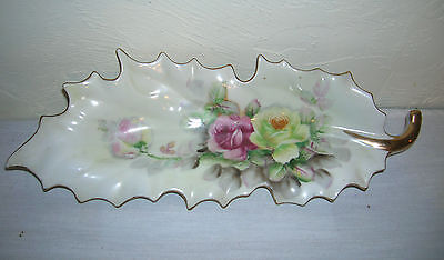 Old Vintage Arnart Creation Japan Leaf Dish Rose Pattern 7457 Scalloped Gold Rim
