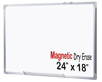 Premium Grade 24 x 18 - Inch Magnetic Dry Erase White Board - Wall Mounted