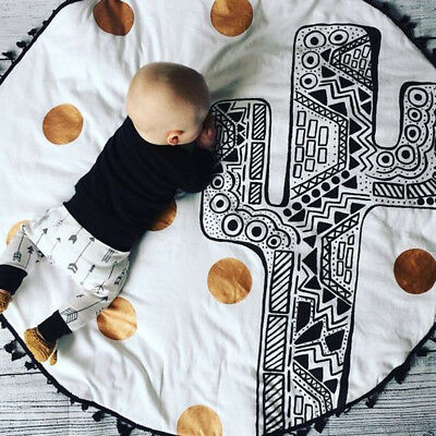 Baby Play Carpet Cartoon Style Round Rug Non-slip Parlor Children Crawling Mat