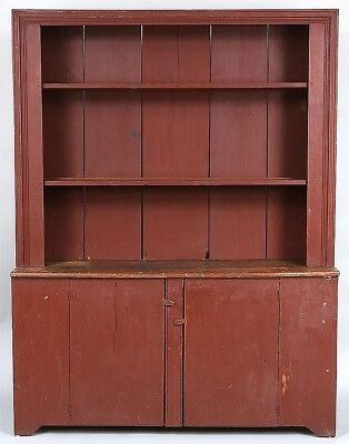Large American country step back cupboard Lot 286