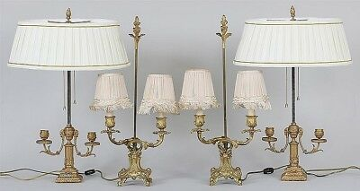 Group of two pairs of French style gilt bronze lights Lot 69