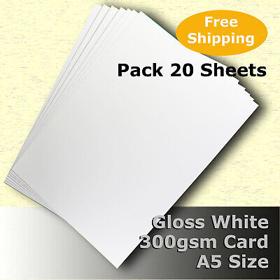 40 Sheets Gloss White Cast Coat Card 1/sided A5 Size 300gsm #H7205 #D1