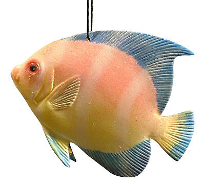 Tropical Fish Christmas Ornament TFO1 6 Inches Pink Blue Yellow Painted Resin