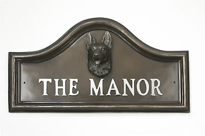 Bronze Finish German Shepherd Dog Arched House Name Plaque - 210mm x 406mm
