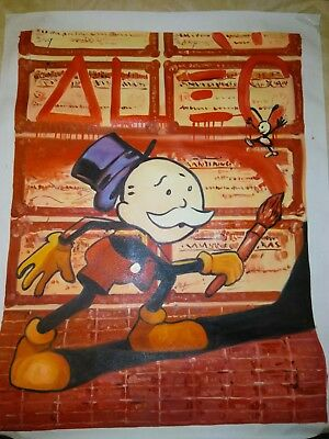 Alec Monopoly Signed Oil Painting That He Hand Embellished With Rosen Flake Coa