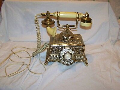 Vintage ONYX French Provincial GOLD BRASS ORNATE TELEPHONE Rotary Dial