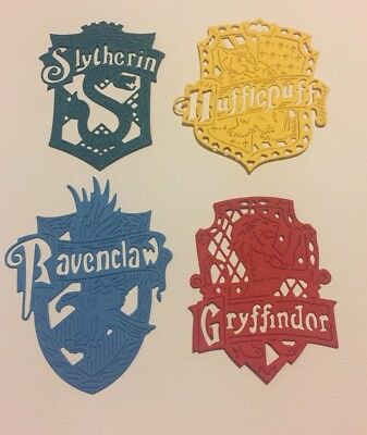 4 x Hogwarts House Crests Paper Die Cut-outs Harry Potter Scrapbooking