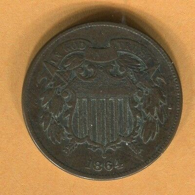 1864 Two Cent Coin XF (JED)