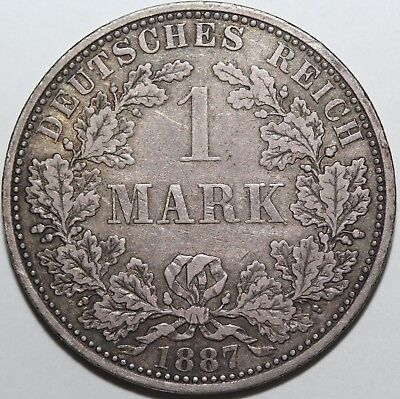 1887-A German 1 One Mark Silver Coin
