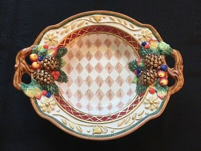 """Fitz And Floyd Classics 8 inch Holiday Candy Dish Pinecones Basket 8"""""""