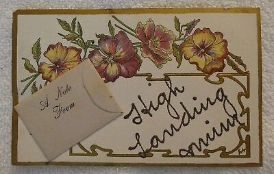 Old Postcard Vintage Antique 1908 - Small Envelope with Note Attached to Front