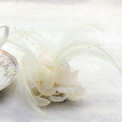 1X Beige Pearl Corsage Hair Clip Flower Fascinator Feather Hairpin Party Wedding