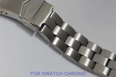 19mm WATCH BRACELET to fit SWATCH. QUALITY SOLID STAINLESS STEEL. IRONY, CHRONO.