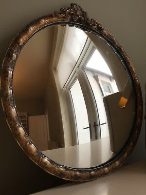 Vintage Round Convex Mirror Gold Crested Metal Brass Style Retro Old Small 27cm
