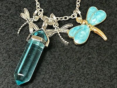 "Dragonfly Aqua Blue W/Aqua Quartz Hexagon Charm Tibetan Silver 18"" Necklace N39"