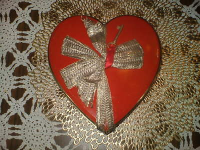 """Hinged Tin, Metal,  Valentine  Candy  Container   Vintage   8""""  Across"""
