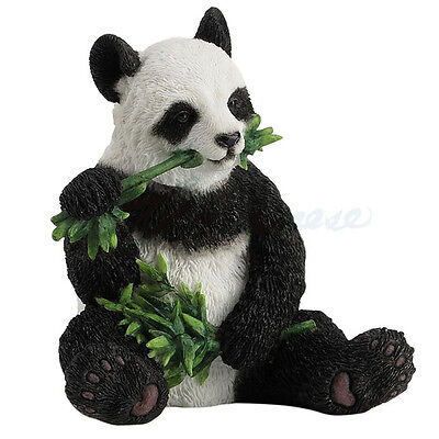 "Panda Sitting and Eating Bamboo Detailed Figurine Miniature Statue 3.5""H New"