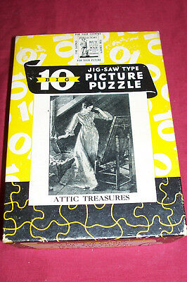 WWII Big 10 Toy Puzzle Jigsaw Picture Attic Treasures Norman Rockwell Vintage