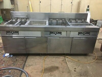 Frymaster commercial 4 bank electric fryer with auto lift and filtration