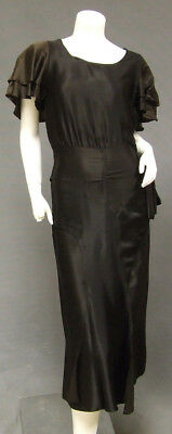 Black Silk 1930's Cocktail Dress Bias