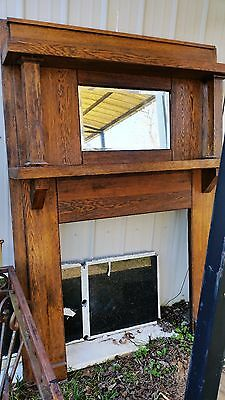Antique Tiger Oak Fireplace Mantel Beveled Mirror