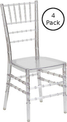 (4Pack) Banquet Tables Pro ® - Clear Ice Resin Chiavari Chair - Free Cushions