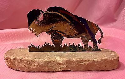 Buffalo Metal Cut Out Rock Mounted Statue Paperweight Desk Accessories